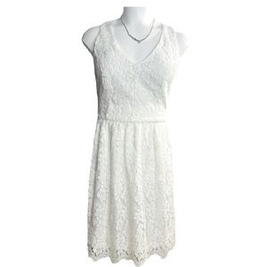 Altar'd State White Lace Fit and Flare Mini Dress